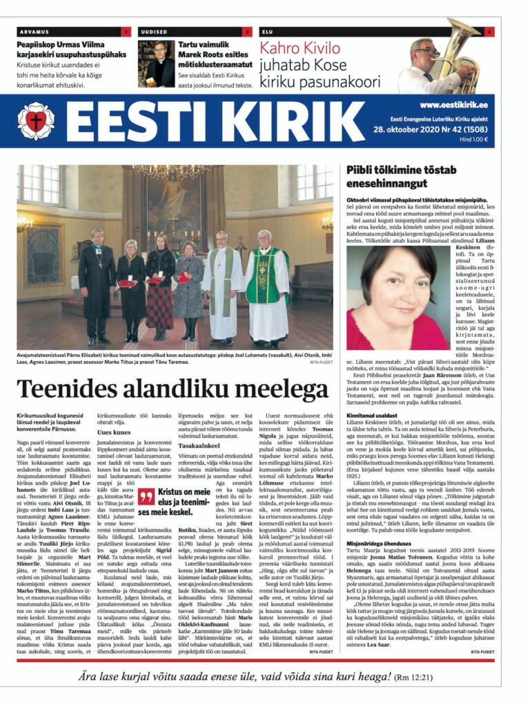 Ajaleht Eesti Kirik 28.10.2020